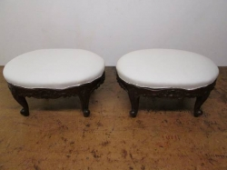 Matching Pair of Hand Carved Stools