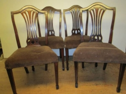 Set Of Four Late 19th Century Hepplewhite Style Mahogany Dining Chairs
