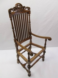 Vintage Solid Oak Throne Chair