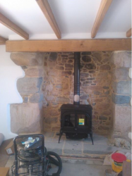 8kw Multi fuel cast iron stove, with plain glass doors