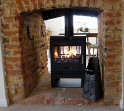 6-8kw multi fuel double sided stove