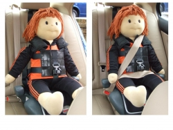 The vehicle safety belt MUST be worn over the top of our harness unless they are exempt for medical reasons.