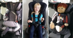 Model 28 can be used with some High Backed Booster Seats such as the Britax Adventure.   The Vehicle Safety Belt  MUST  be worn over the top of our harness.
