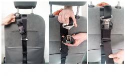 Connect the Shoulder Strap buckle on the Body Harness to its corresponding half on the Fixing Strap  (at the rear of the vehicle seat, out of sight & reach of the passenger)