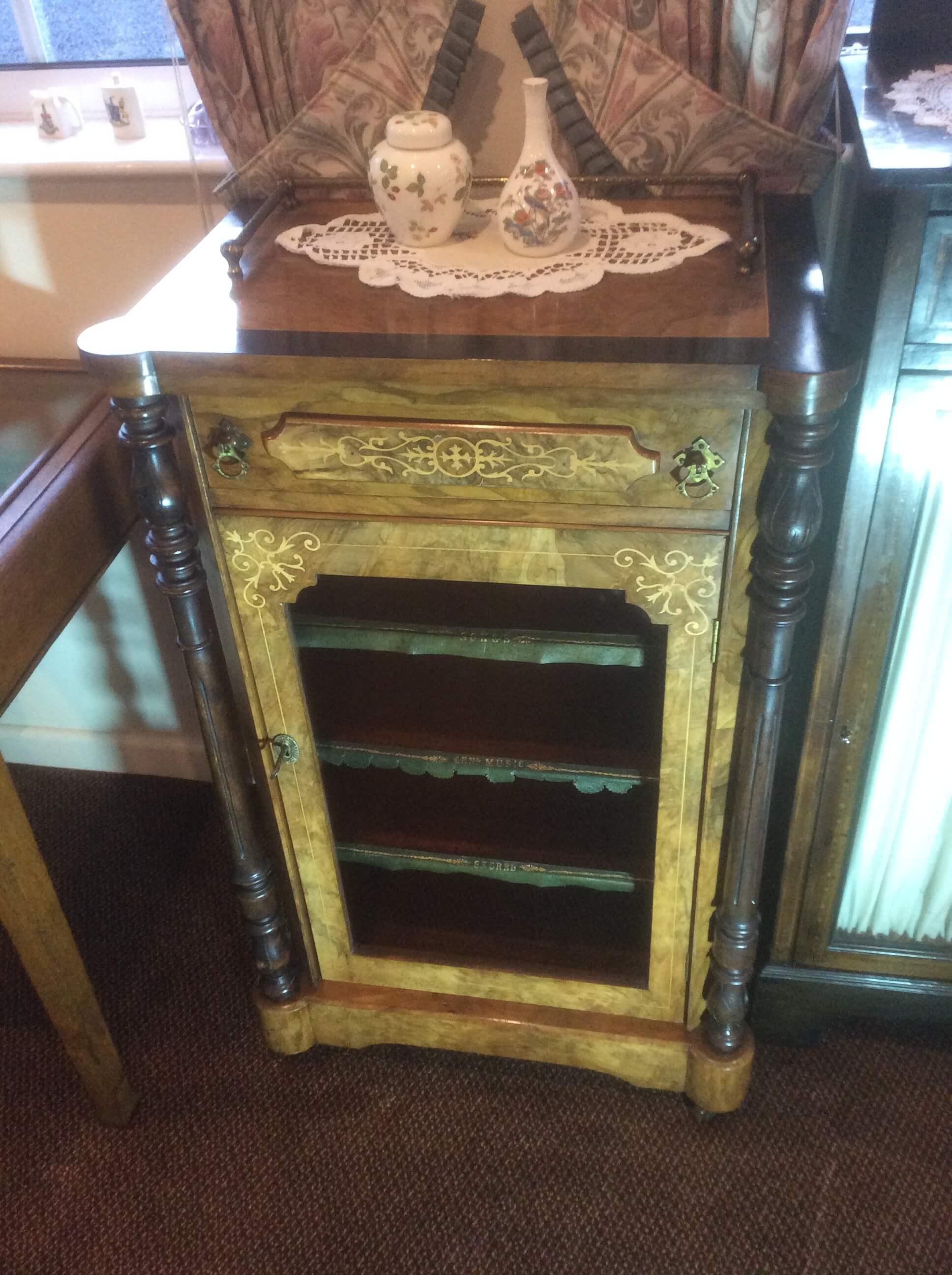 Edwardian Inlaid Walnut Side/Music Cabinet