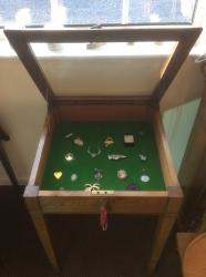 Oak Display Table with 2 keys. Circa 1950