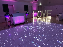 The stunning Starlit Dance Floor with our Silver Disco