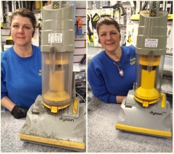 Staff member with before and after of vacuum servicing