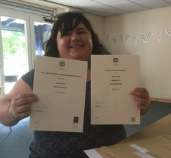 Passing the HNC Social Services award and  successful completion of the SVQ 3 Social Services CCYP award. Congratulations Helen