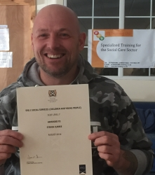 Successful completion of the SVQ 3 Social Services CCYP award. Congratulations Steven
