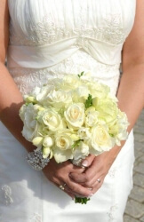 Our Beautiful Bride Beth's all cream rose and freesia hand tied bouquet withdiamonds and pearl details