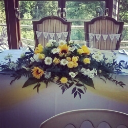 Top table arrangment at Craigynos Castle