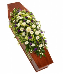 Purple & White Casket Spray