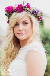 Sophie wore a beautiful flower crown for her summer wedding