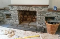 Work in progress wood burner installation