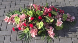 Anthurium and Orchid Coffin Spray