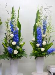 Striking blue and white Pedestals