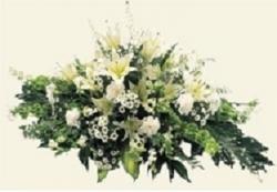 Classic White Lily and Cream Coffin Spray