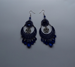 Blue Sun & Moon Earrings