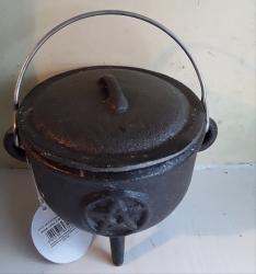 Cauldron, 11cm, Cast Iron, Pentacle