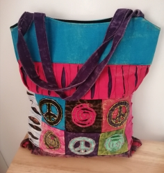 Peace Shoulder Bag, Blue/Red