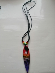 Surfer Pendant necklace, Red,Yellow,Green,Mauve