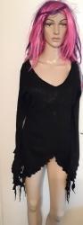 Black Long-Sleeved Handkerchief Top