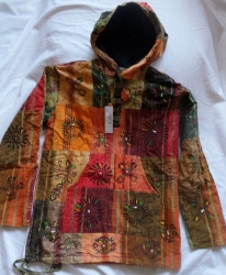 Patchwork Hooded Jacket Size L/XL