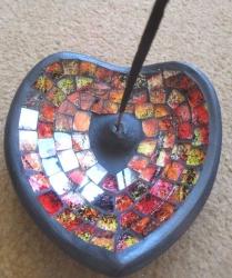 Heart Mosaic Incense Holder