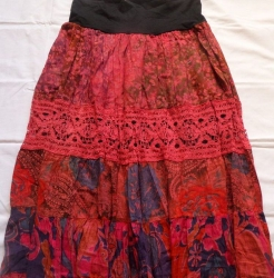 Gipsy Red Patchwork Skirt, Size M