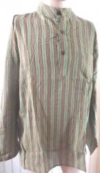 Mens' Shirt, green/brown stripe size XL