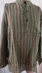 Mens' Shirt, green/brown stripe Size L