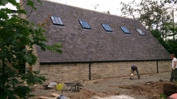 New Build barn and office in Biddlestone, Northumberland. Constructed from stone and slate with European Oak Joinery.