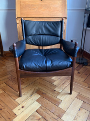 1970's Rosewood Occasional chairs in leather