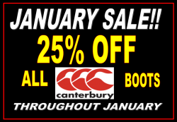 25% OFF ALL CANTERBURY BOOTS!!!!