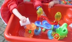 The children enjoyed making thier own waterfalls and rivers in the water tray
