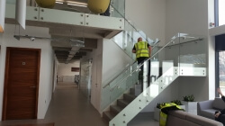 We manufactured and fitted this glass balustrade with stainless steel handrail system at Vermont construction Liverpool