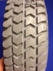 Pair of 300 x 4inch Solid Infill Block Tyres NITHT 300S