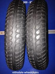 Pair of Black Block Tyre 300-8 NITHT888
