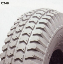 PAIR OF 260 / 85 or 300x4 or 3 X 10 Block Grey Tyre