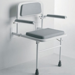Padded Wall Mounted Seat with Arms and Back