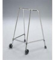 Narrow adjustable walking frame with wheels