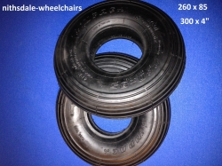 PAIR of Black 260 x 85, 300 x 4 Rib or 3 x 10 Tyre NITHT 261
