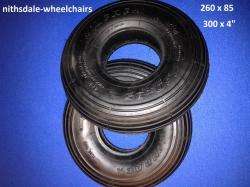 PAIR of Black 260 x 85, 300 x 4 Rib or 3 x 10 Tyre NITHT 261