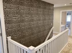 Papering of hall and stairs . Painter and decorator Glasgow