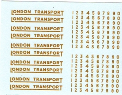 LONDON TRANSPORT UNDERLINED IN GOLD WITH NUMBERS
