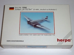 Herpa 19002, Junkers JU52 / 3m, 1:160, New in original box