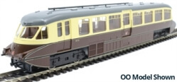 7D-011-003D Streamlined Railcar 16 Lined Chocolate & Cream GWR Twin Cities DCC