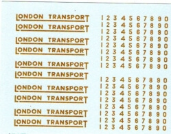 4mm GAUGE LONDON TRANSPORT UNDERLINED IN GOLD WITH NUMBERS