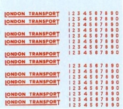 2mm GAUGE LONDON TRANSPORT UNDERLINED IN RED WITH NUMBERS